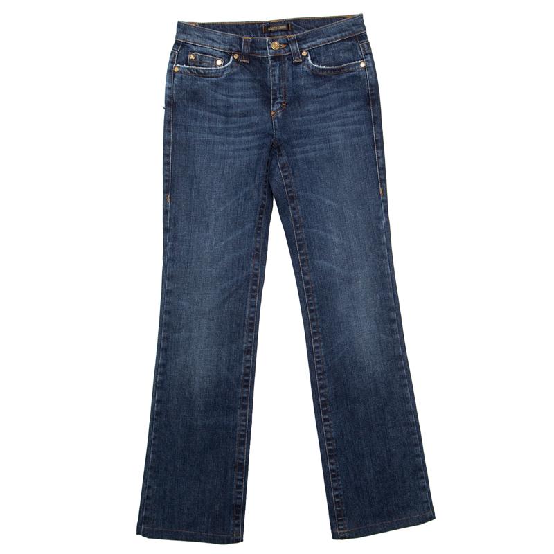 Купить со скидкой Roberto Cavalli Indigo Dark Wash Faded Effect Distressed Denim Jeans S