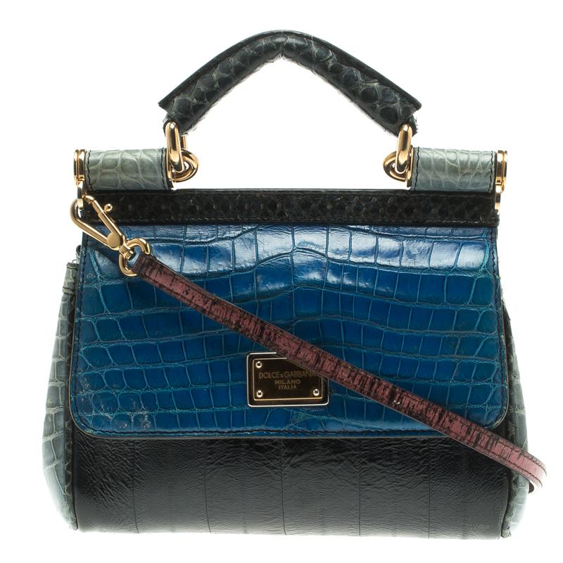 4d74556f902e dolce gabbana miss sicily medium crocodile and python leather tote ...