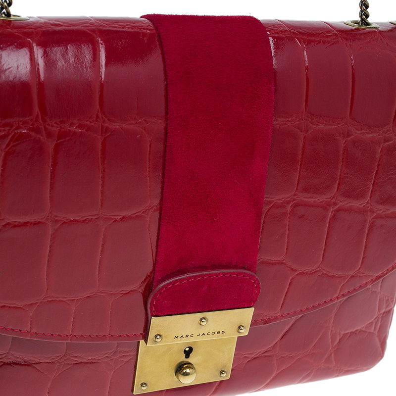 Marc Jacobs Red Croc Embossed Leather Mini Polly Shoulder Bag