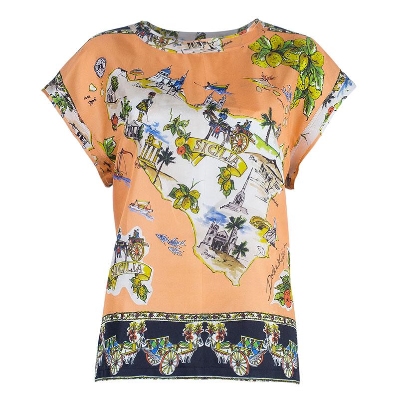 Dolce And Gabbana Orange Sicilia Scarf Print Top M