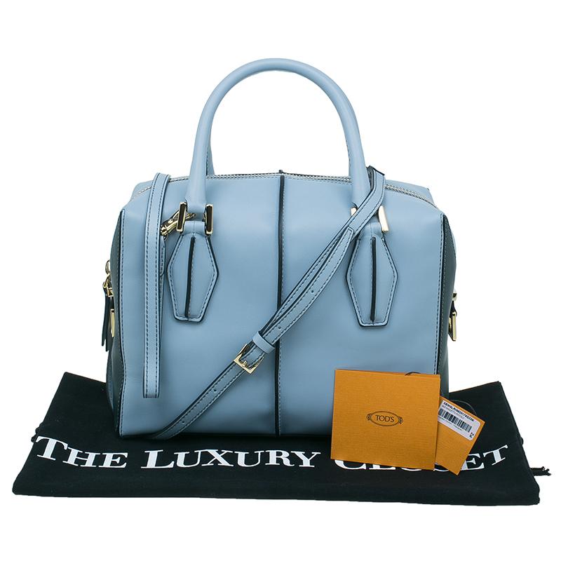 Tod's Carolina Blue/Green Leather Small D-Cube Bowler Bag