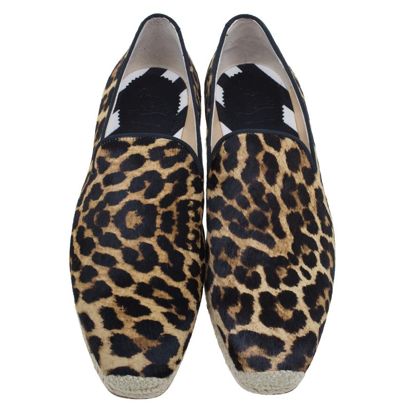 Christian Louboutin Leopard Print Pony Hair Espadrilles Size 42