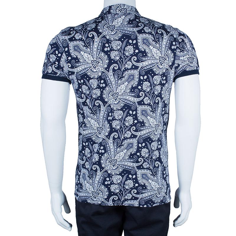 Etro Men's Navy Paisley Polo Shirt S