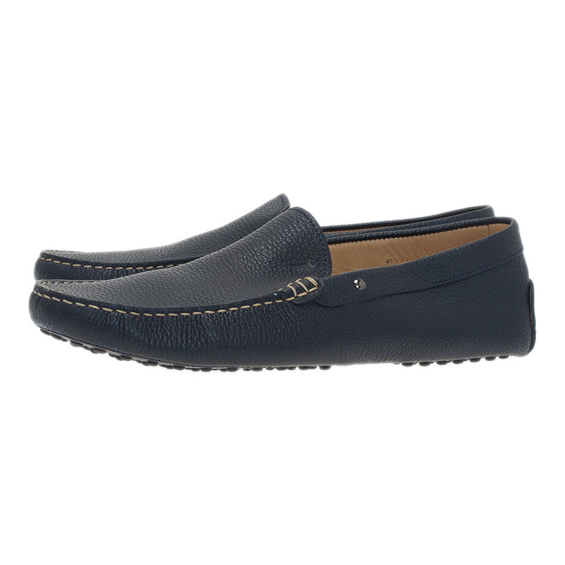 Tod's Navy Blue Leather Loafers Size 43