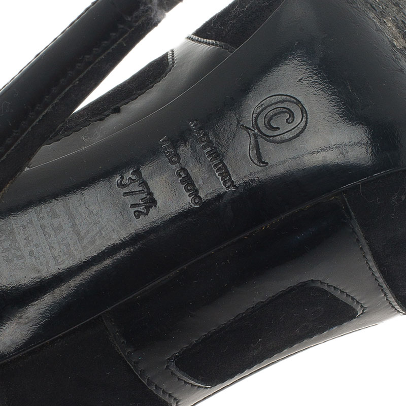 Alexander McQueen Black Suede and Leather Pumps Size 37.5