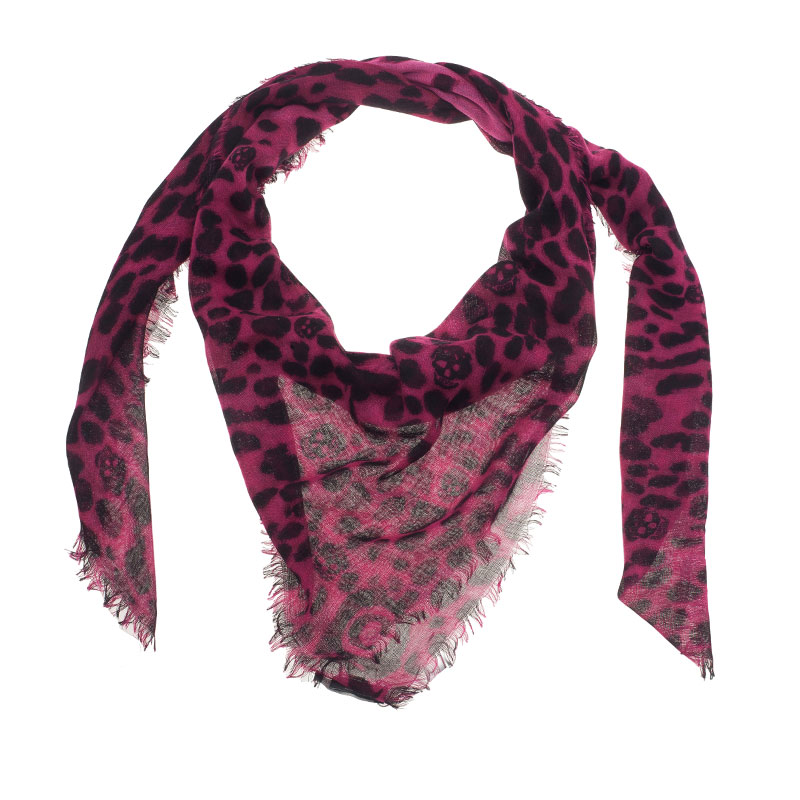 Alexander McQueen Pink Leopard and Skull Print Cashmere and Silk Blend Square Scarf