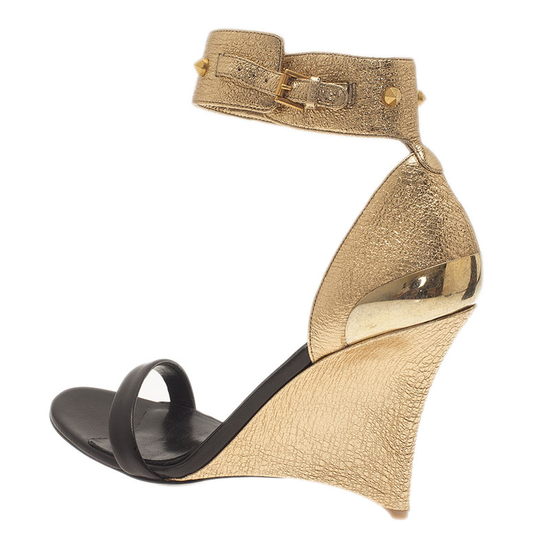 Alexander McQueen Two Tone Leather Studded Ankle Strap Wedges Size 40