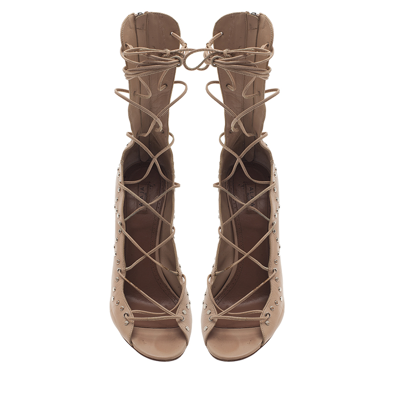 Azzedine Alaia Beige Leather Lace Up Gladiator Sandals Size 40