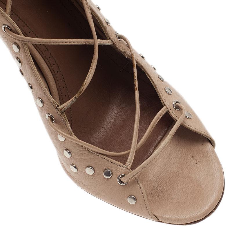 Azzedine Alaia Beige Leather Lace Up Gladiator Sandals Size 40