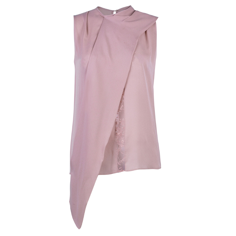 Elie Saab Blush Pink Lace Insert Sleeveless Top S