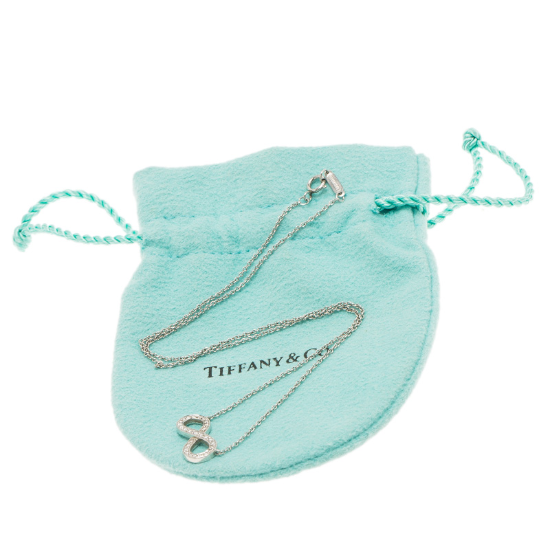 Tiffany & Co. Infinity Diamond & Platinum Pendant Chain Necklace