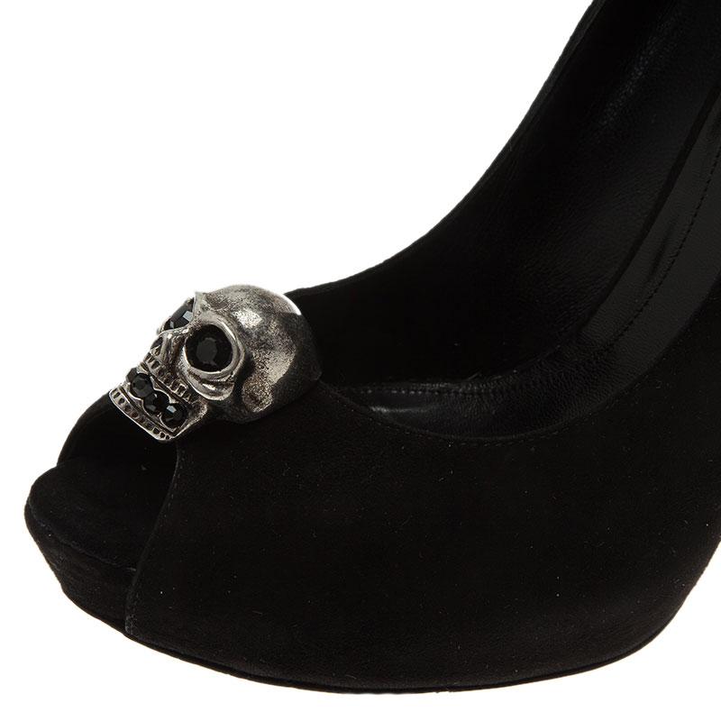 Alexander McQueen Black Suede Skull Peep Toe Pumps 37