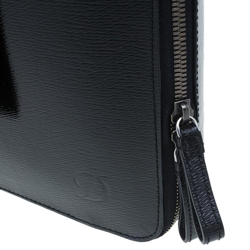 S.T. Dupont Black Leather Extra Flat Laptop Holder Bag