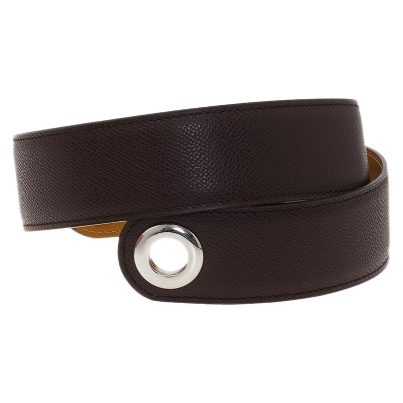 Hermes Brown Leather Belt and Attached Scarf 80CM