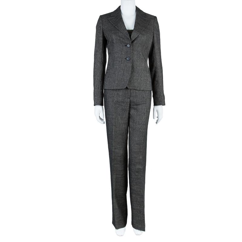 Max Mara Black Tweed Pant Suit S