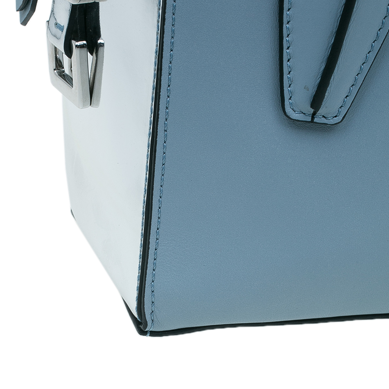Tod's Carolina Blue/Silver Leather Mini D-Cube Bowler Bag