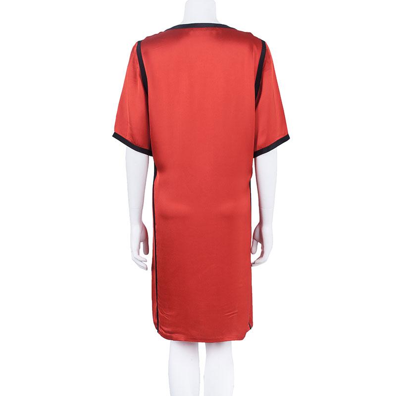 Stella McCartney Red and Pink Satin Dress S