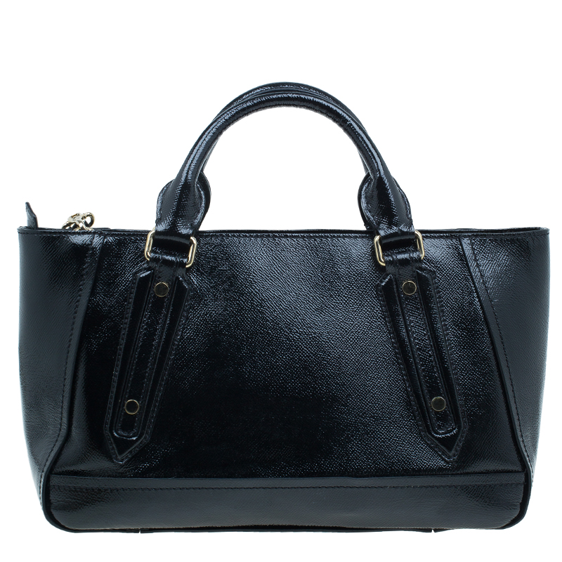 Burberry Black Patent Leather Textured Somerford Convertible Tote