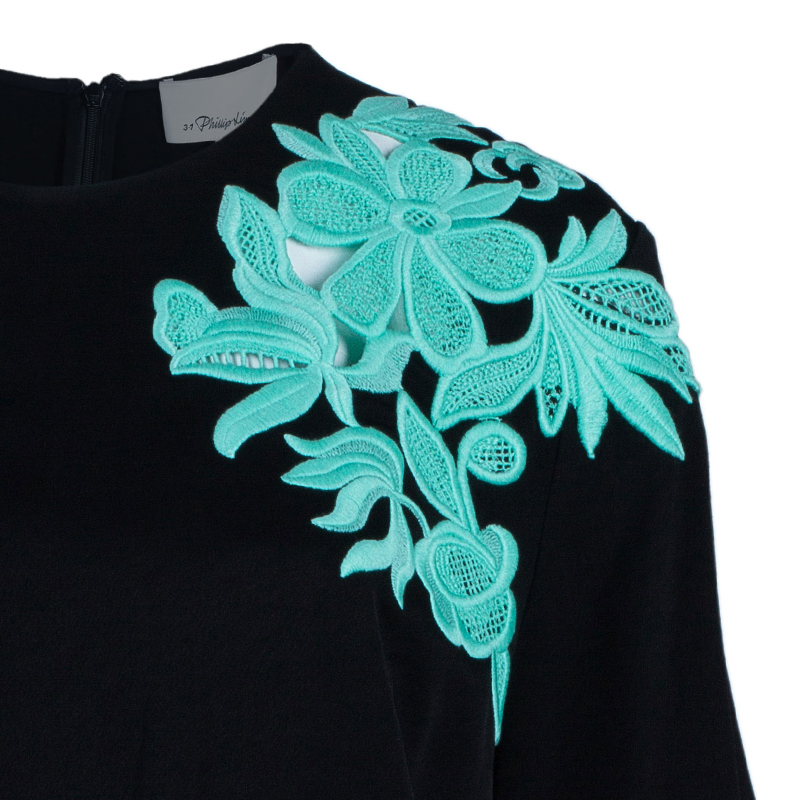 3.1 Phillip Lim Black Contrast Floral Lace Oversized Top M