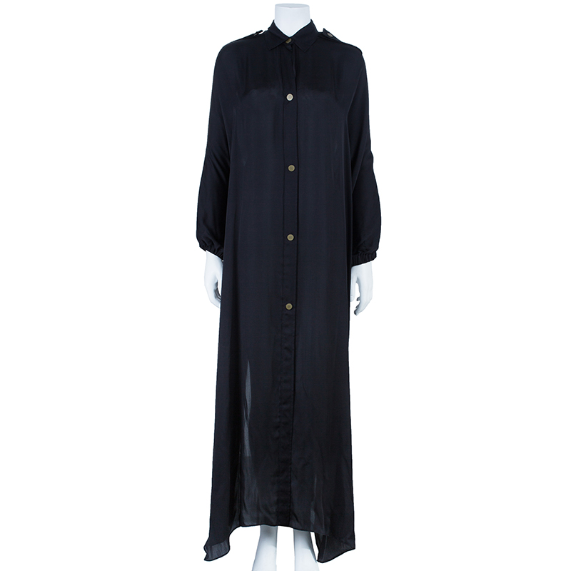 Lanvin Black Button Down Maxi Shirt Dress OS