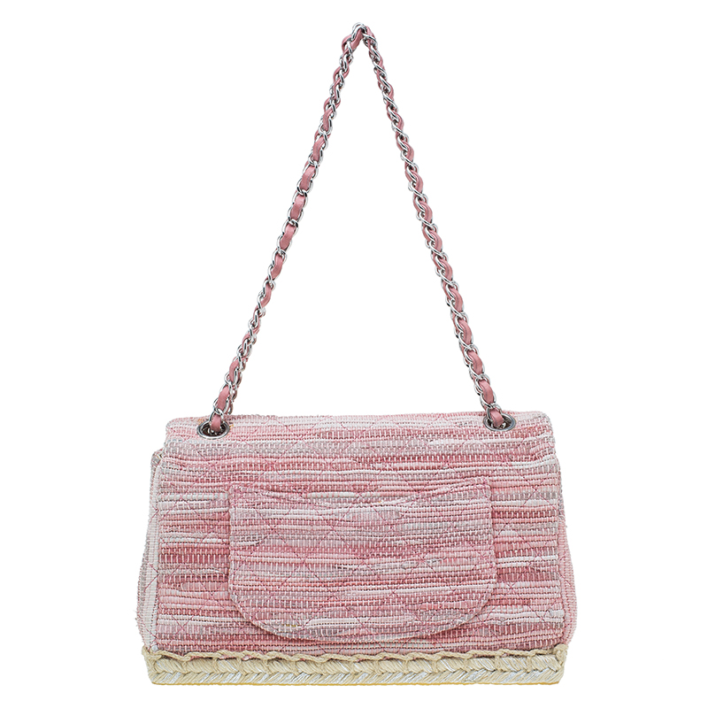 Chanel Pink Quilted Tweed Espadrille Chain Flap Bag
