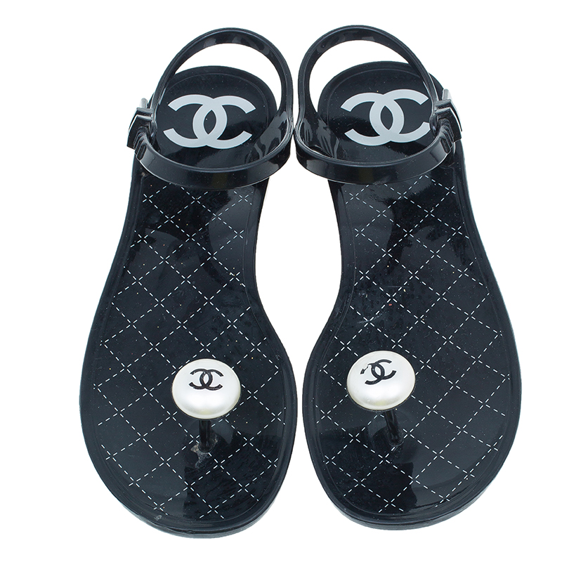 Chanel Black CC Pearl Jelly Sandals Size 37