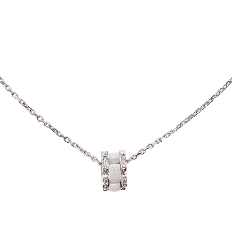 Chanel Ultra Diamond White Ceramic White Gold Pendant Necklace