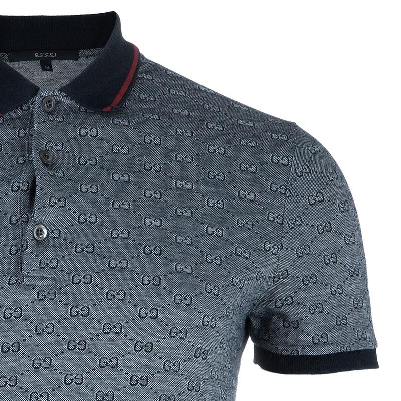 Gucci Men's Grey GG Polo Shirt M