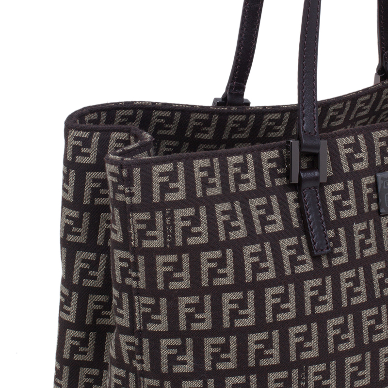 Fendi Brown Canvas and Leather Zucchino Tote Bag