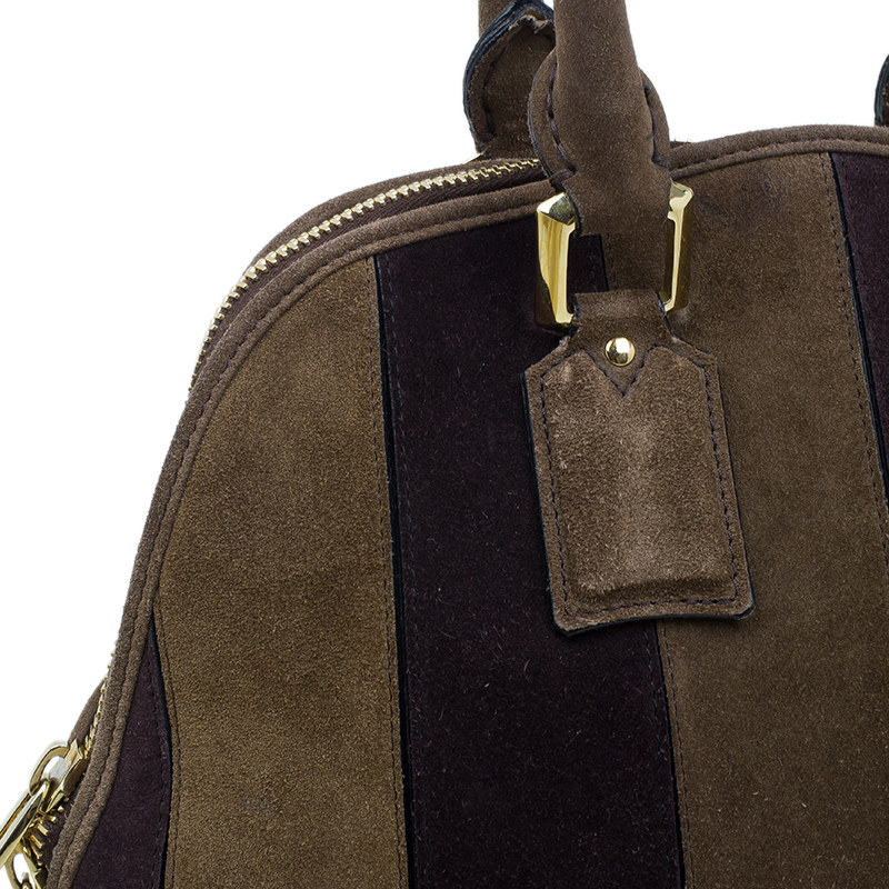 Burberry Brown Suede Stripes Medium Orchard Bag