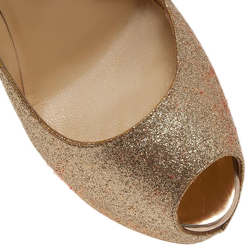 Christian Louboutin Gold Glitter Lady Peep Pumps Size 39.5