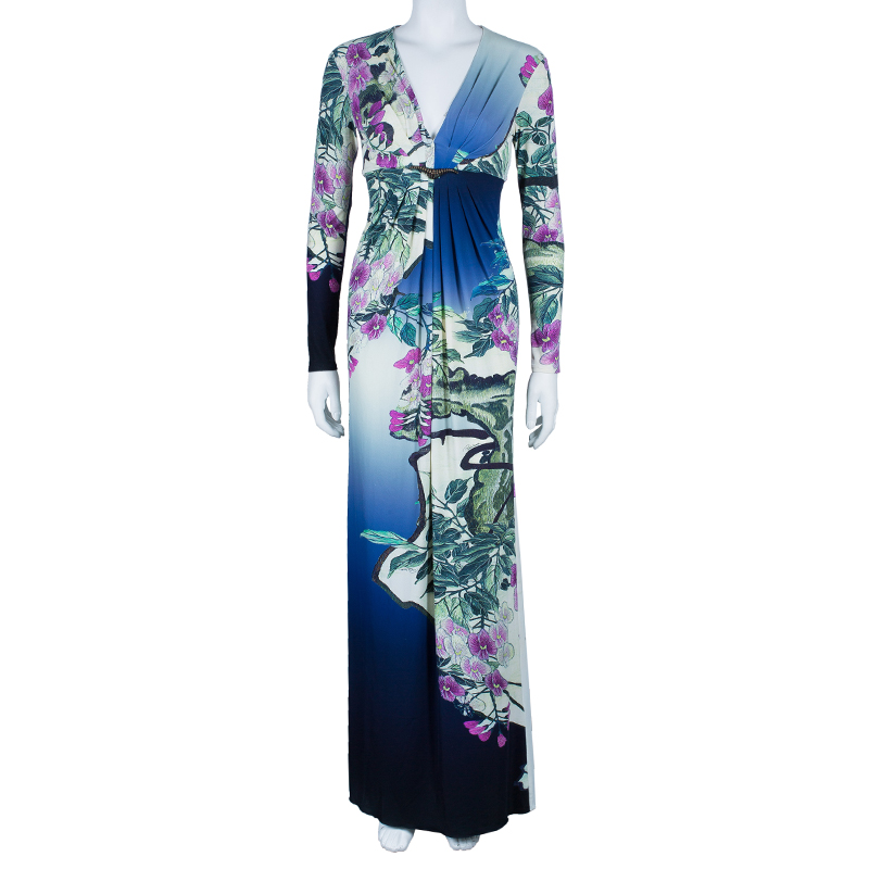 Roberto Cavalli Floral Printed Stretch Maxi Dress S