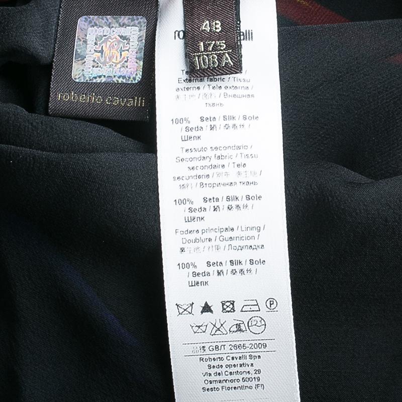 Roberto Cavalli Black Printed One-Shoulder Maxi Dress L