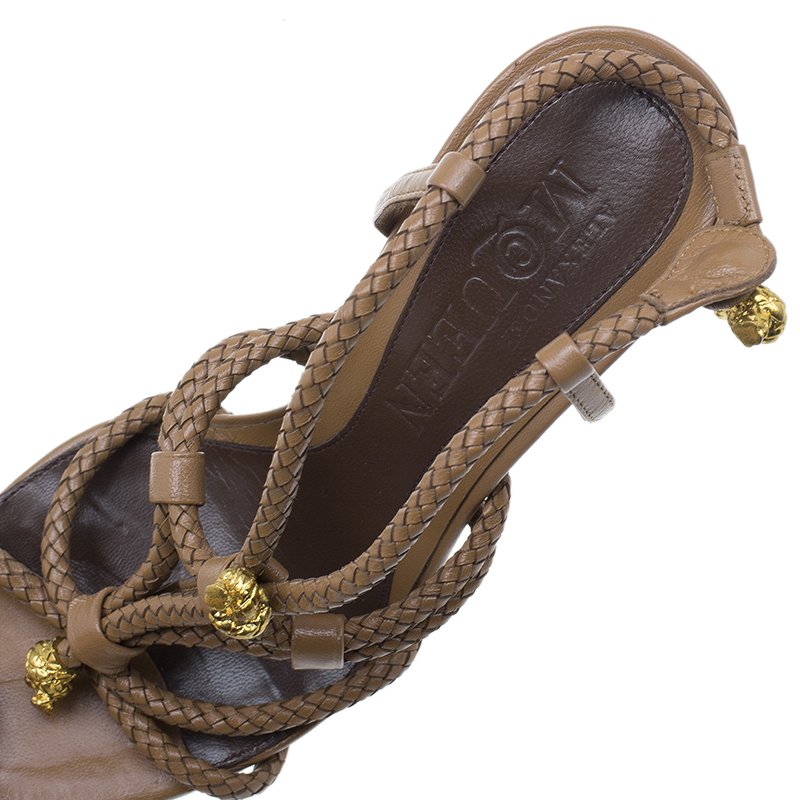 Alexander McQueen Brown Braided Leather Skull Detail Sandals Size 37
