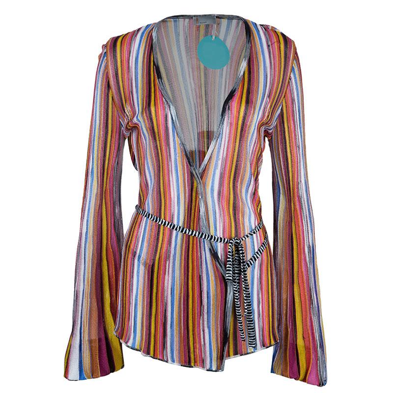 Missoni Multicolor Striped Long Sleeve Top L
