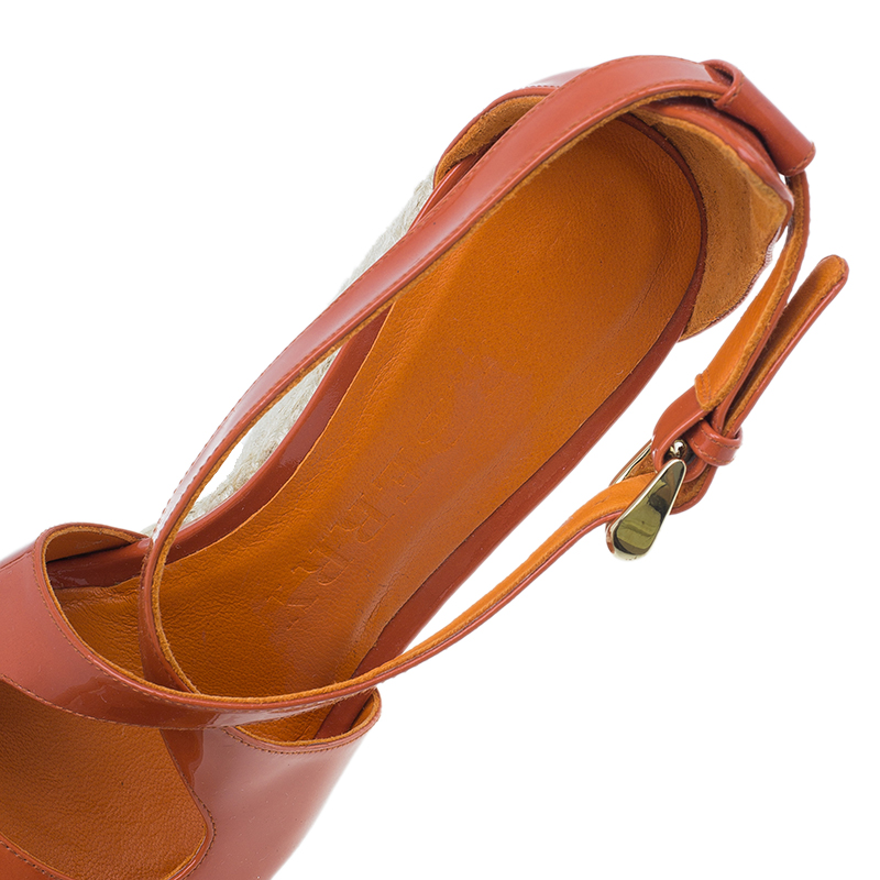 Burberry Orange Patent Leather Abbott Espadrille Wedges Size 36.5