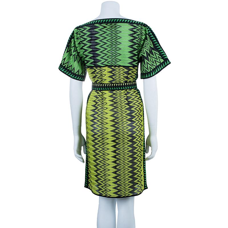 Missoni Green Zig-Zag Belted Dress M
