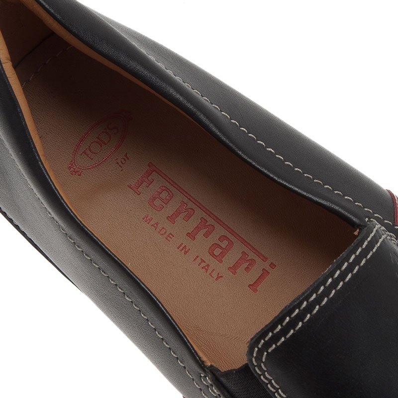 Tod's for Ferrari Black Leather and Suede Striped Loafers Size 43.5