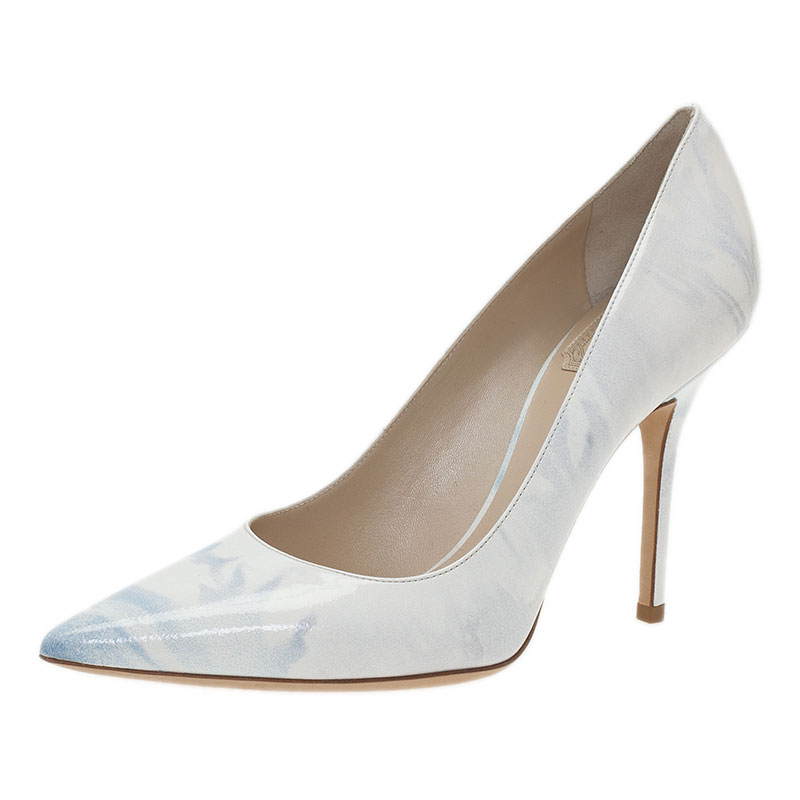 Dior Grey Shaded Patent Leather Pointed Toe Pumps Size 36