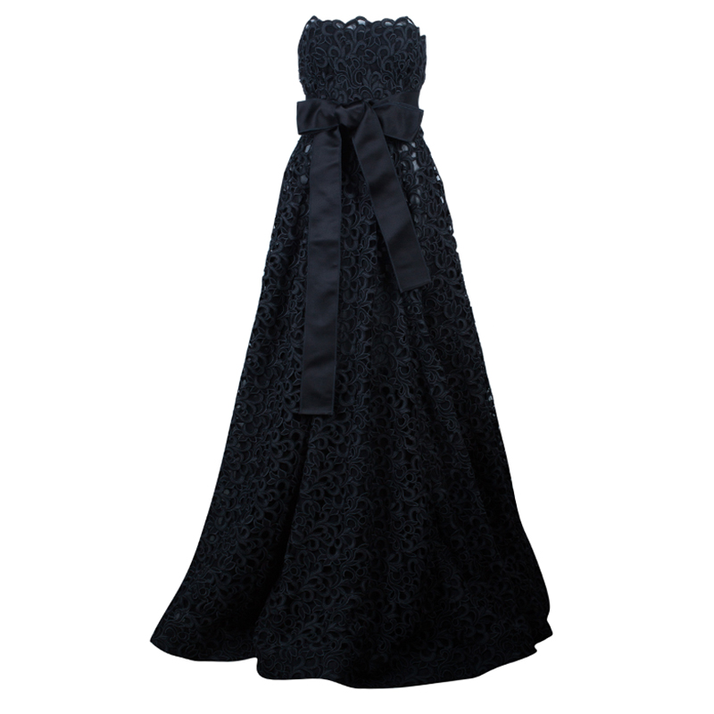 Dolce and Gabbana Black Lace Strapless Gown M