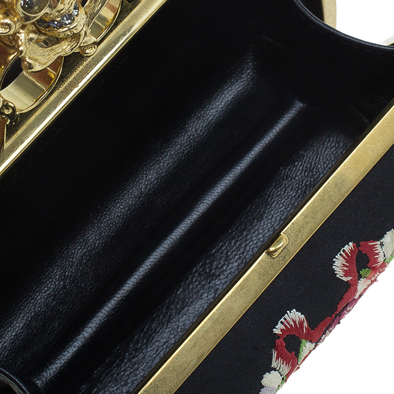 Alexander McQueen Black Satin Unicorn Knuckle Duster Clutch