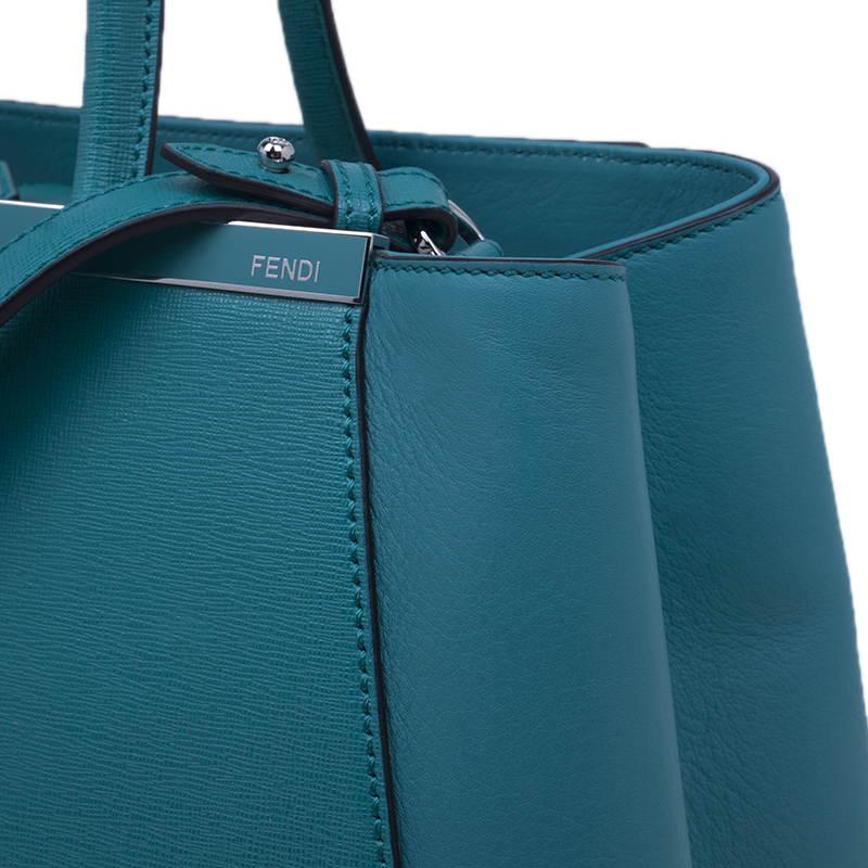 Fendi Turquoise Leather 2jours Tote