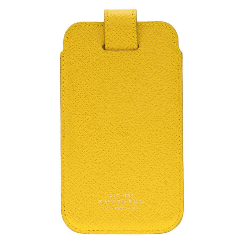 Smythson Yellow Leather Phone Case