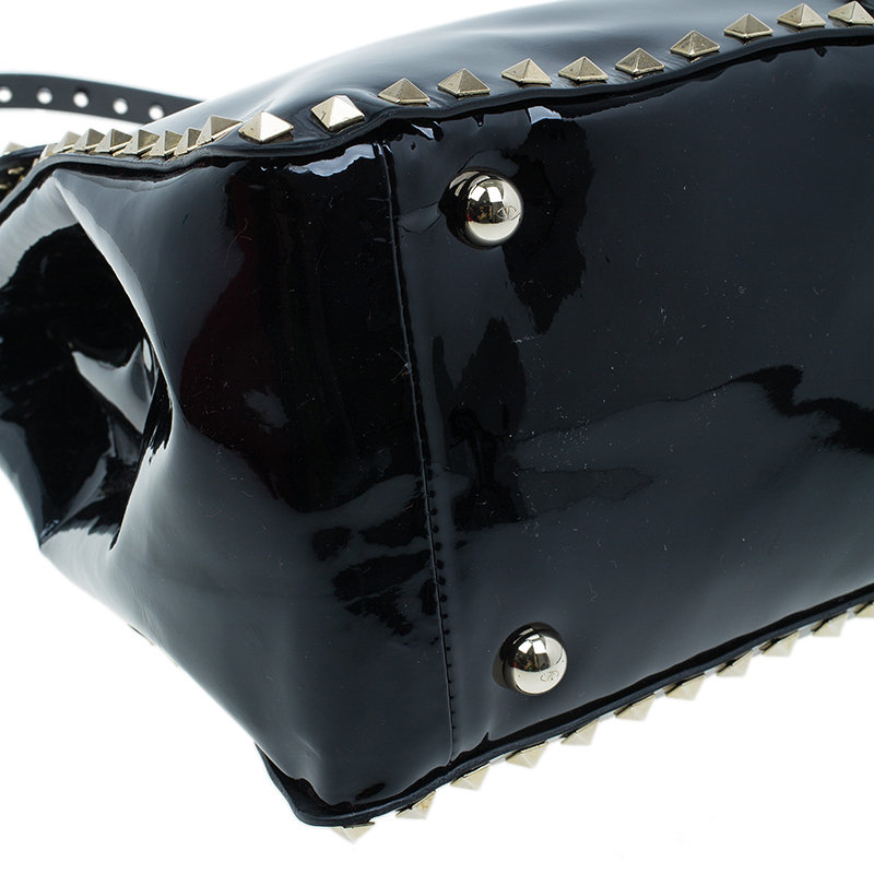 Valentino Black Patent Leather RockStud Frame Top Handle Tote