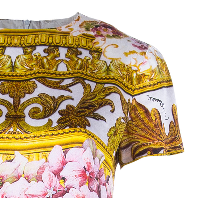 Roberto Cavalli Printed Short Sleeve Silk Shift dress S