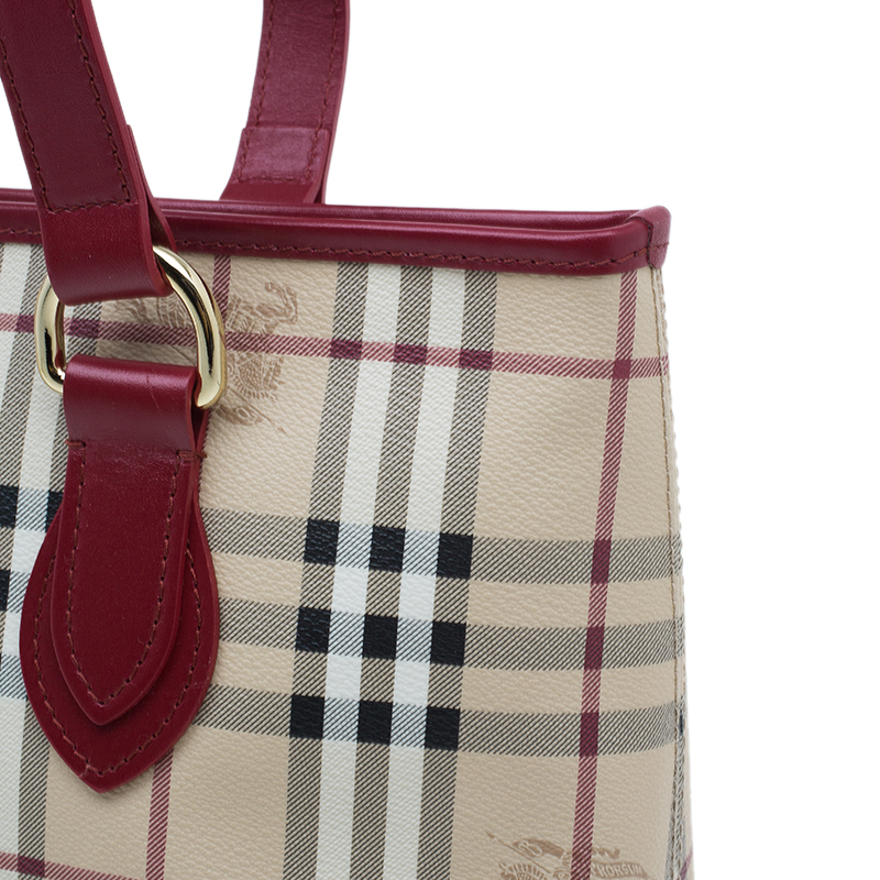 Burberry Red Haymarket Check Medium Regent Tote Bag