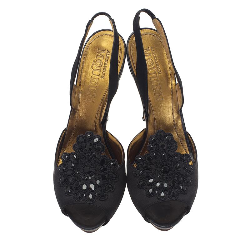 Alexander McQueen Black Satin Embellished Peep Toe Slingback Sandals Size 40