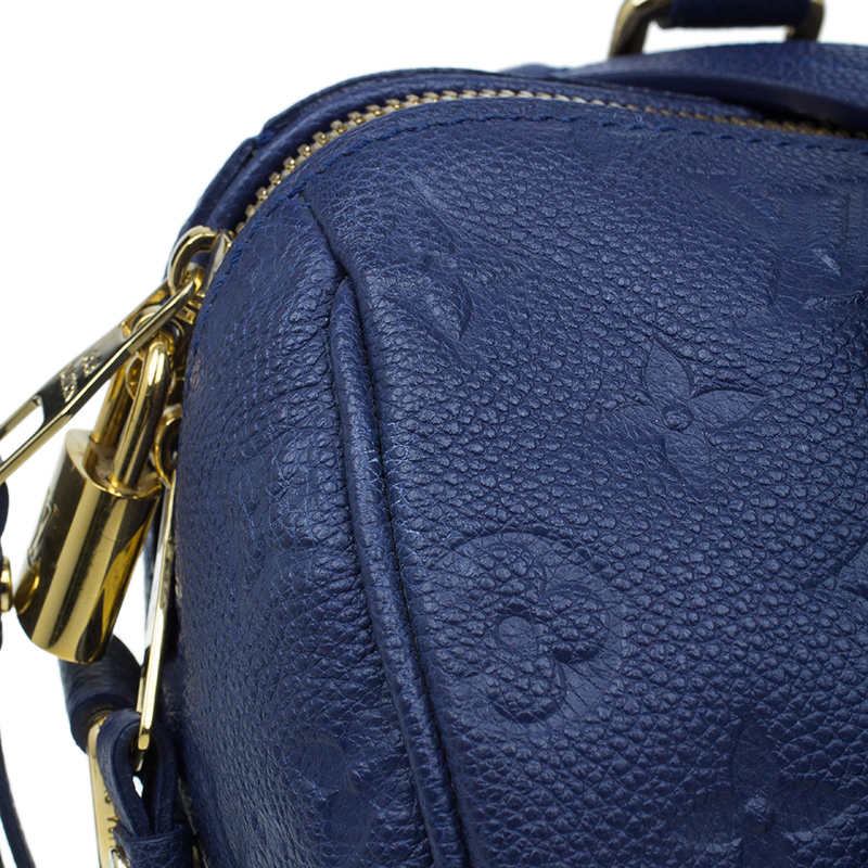 Louis Vuitton Blue Empreinte Leather Speedy Bandouliere 25