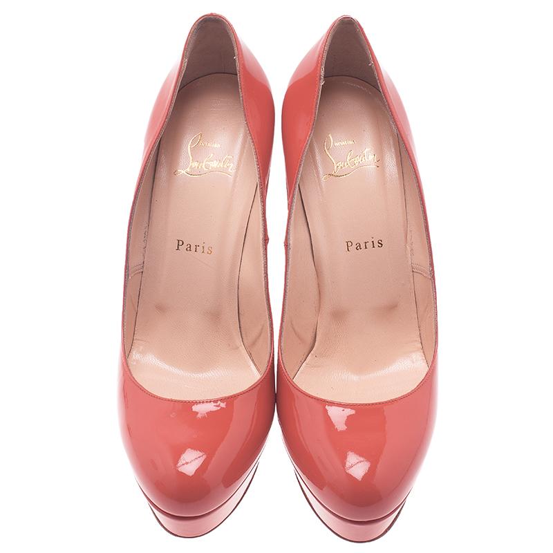 Christian Louboutin Pink Patent Bianca Platform Pumps Size 41