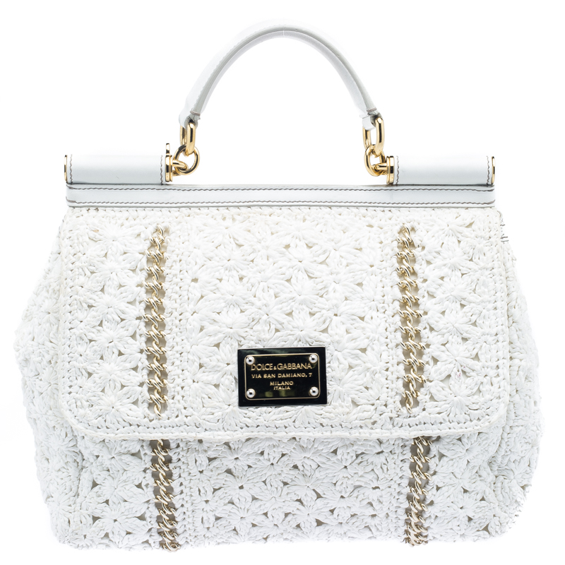 ... Dolce and Gabbana White Straw Crochet Large Miss Sicily Tote - Buy Sell  - LC best ... 7f05afee8fc09